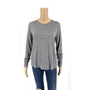 Vince Long Sleeve T-Shirt Gray Marled Crew Neck S